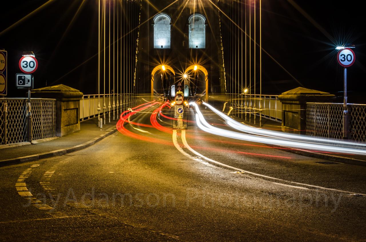 Light trails at Menai Suspension Bridge