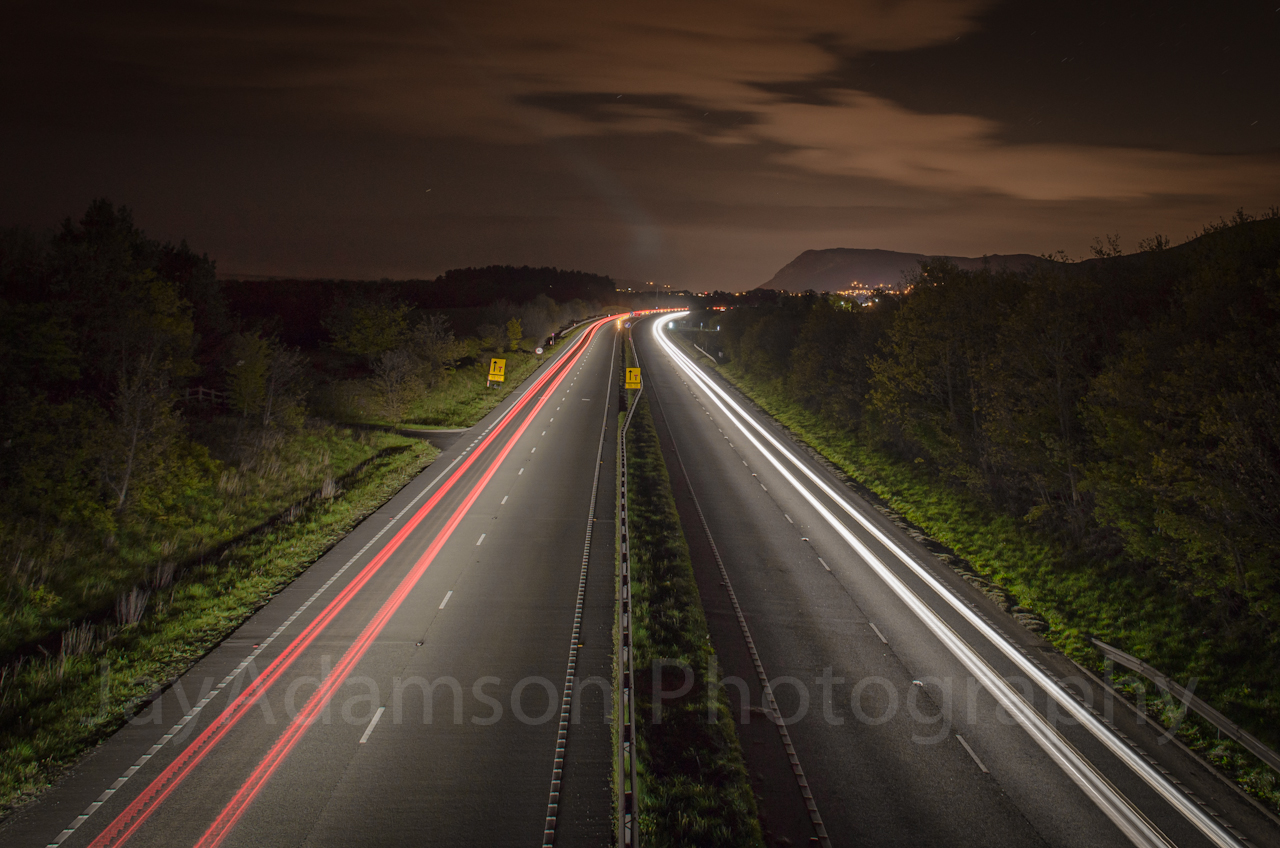 Light trails on the A55